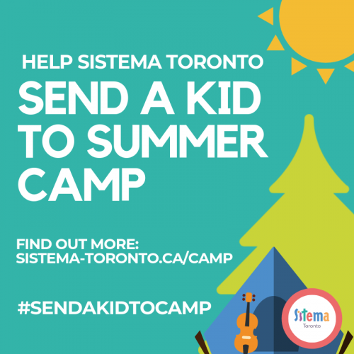 #SendAKidToCamp fundraising graphic with violin, tent and tree