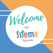 """Welcome to Sistema Toronto"" on blue and orange background"