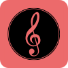 Treble clef on pink background
