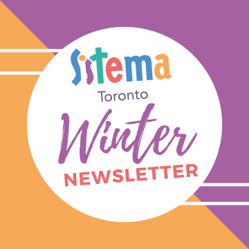 Newsletter image with Sistema logo (orange and purple)