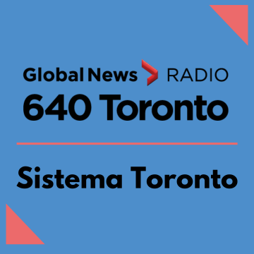 Blue image with 640 Toronto radio logo and Sistema logo